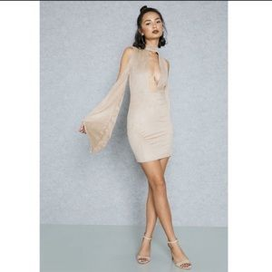 NWT Missguided beige suede bodycon dress